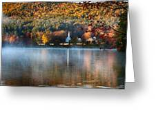 Reflection Of Little White Church With Fall Foliage Greeting Card