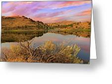 Reflection Of Scenic High Desert Landscape In Central Oregon Greeting Card