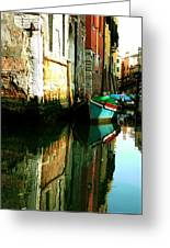 Reflection Of The Wooden Boat Greeting Card
