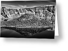 Reflection Of Wizard Island Crater Lake B W Greeting Card