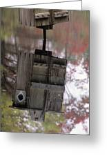 Reflection Of Wood Duck Box In Pond Greeting Card