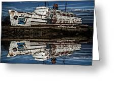 Reflections From The Duke Of Lancaster Ship  Greeting Card