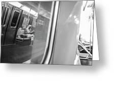 Reflections In New York City Subway Greeting Card by Ranjay Mitra