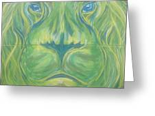 Reflections In The Lions Eyes Greeting Card