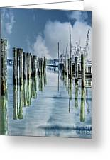 Reflections In The Marina Greeting Card