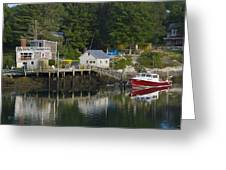Reflections Of A Lobster Boat  Dock And Traps Greeting Card