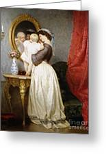 Reflections Of Maternal Love Greeting Card by Robert Julius Beyschlag