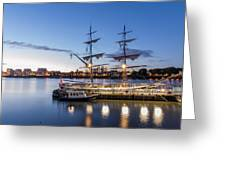 Reflections Of Tall Ships Greeting Card by Andrew Lalchan