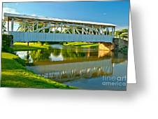 Reflections Of The Halls Mill Covered Bridge Greeting Card