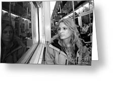 Reflections On A London Train Greeting Card