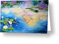 Reflections On A Waterlily Pond Greeting Card by Marcia Baldwin