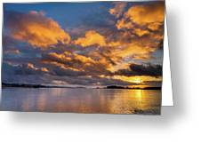 Reflections On Fire Sunset Greeting Card