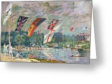 Regatta At Molesey Greeting Card by Alfred Sisley