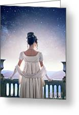 Regency Woman Looking At The Stars In The Night Sky  Greeting Card