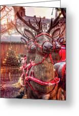 Reindeer At Copenhagen Christmas Market Greeting Card