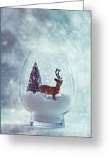 Reindeer In Glass Snow Globe  Greeting Card
