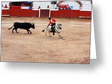 Rejoneador And The Bull, San Miguel De Allende Greeting Card