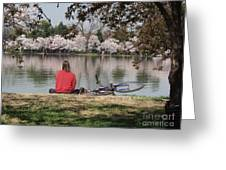 Relaxing Under Cherry Blossoms Greeting Card
