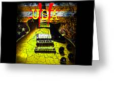 Relic Guitar Music Patriotic Usa Flag Greeting Card