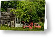 Remains Of An Old Tow Truck And Garage Greeting Card