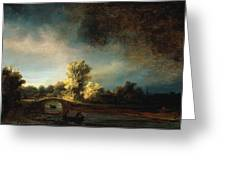 Rembrandt Landscape Paintings - The Stone Bridge Greeting Card