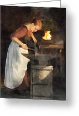 Renaissance Lady Blacksmith Greeting Card
