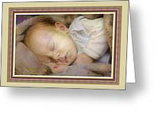 Renoircalia Catus 1 No. 2 - Adorable Baby L B With Decorative Ornate Printed Frame. Greeting Card