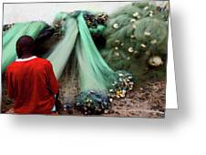 Repairing The Nets In Cape Coast Greeting Card