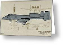 Republic A-10 Thunderbolt II - Profile Art Greeting Card