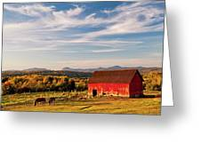 Red Barn Autumn Landscape Greeting Card