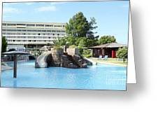 Resort With Swimming Pool Summer Vacation Scene Greeting Card