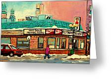 Restaurant Greenspot Deli Hotdogs Greeting Card