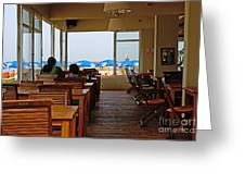 Restaurant On A Beach In Tel Aviv Israel Greeting Card by Zalman Latzkovich