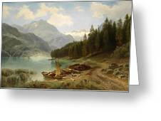 Resting By The Mountain Lake Greeting Card
