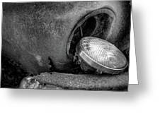 Resting Headlight Of Rusty Car Greeting Card by Dennis Dame