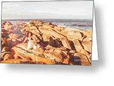 Resting On A Cliff Near The Ocean Greeting Card