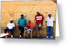Retired Men And Yellow Wall Cartegena Greeting Card