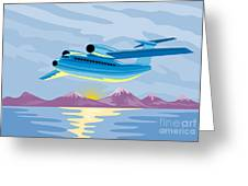 Retro Airliner Flying  Greeting Card