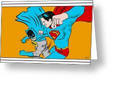 Retro Batman V Superman Greeting Card