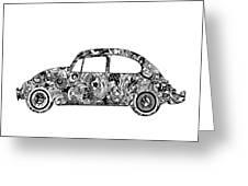 Retro Beetle Car 2 Greeting Card