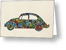 Retro Beetle Car 3 Greeting Card