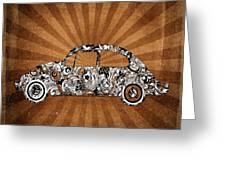 Retro Beetle Car Greeting Card