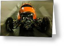Retro Car In Orange Greeting Card