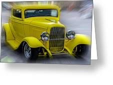 Retro Car In Yellow Greeting Card