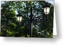 Retro Chic Streetlamps - Old World Charm With A Modern Twist Greeting Card