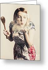 Retro Cooking Woman Giving Recipe Kiss Greeting Card