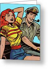 Retro Couple On Boat Comic Style Greeting Card
