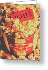 Retro Film Stub And Movie Popcorn Greeting Card
