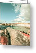Retro Filtered Beach Background Greeting Card