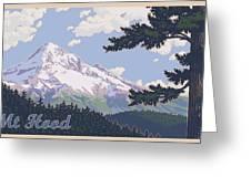 Retro Mount Hood Greeting Card